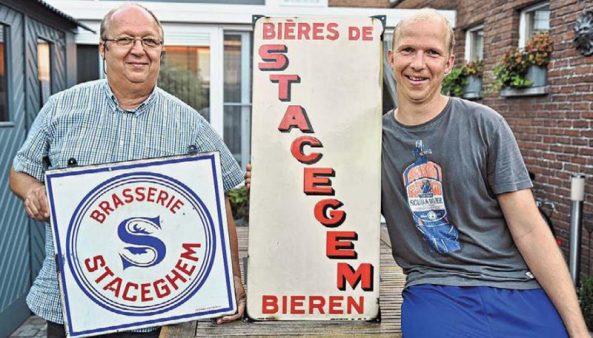 Jo Moerman en zoon Dries komen uit met een tentoonstelling over de voormalige brouwerij. (Foto LOO)